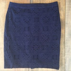 The Limited Blue Lace Overlay Pencil Skirt Size 6.